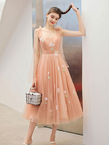 Tea Length A-line Cute Prom Dress Sweet 16 Beautiful Long Formal Dress #AMY3227|Amyprom