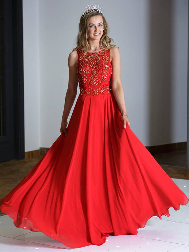 2018 A-line Prom Dresses Long Cheap Scoop Red Prom Dress Evening Dresses AMY321