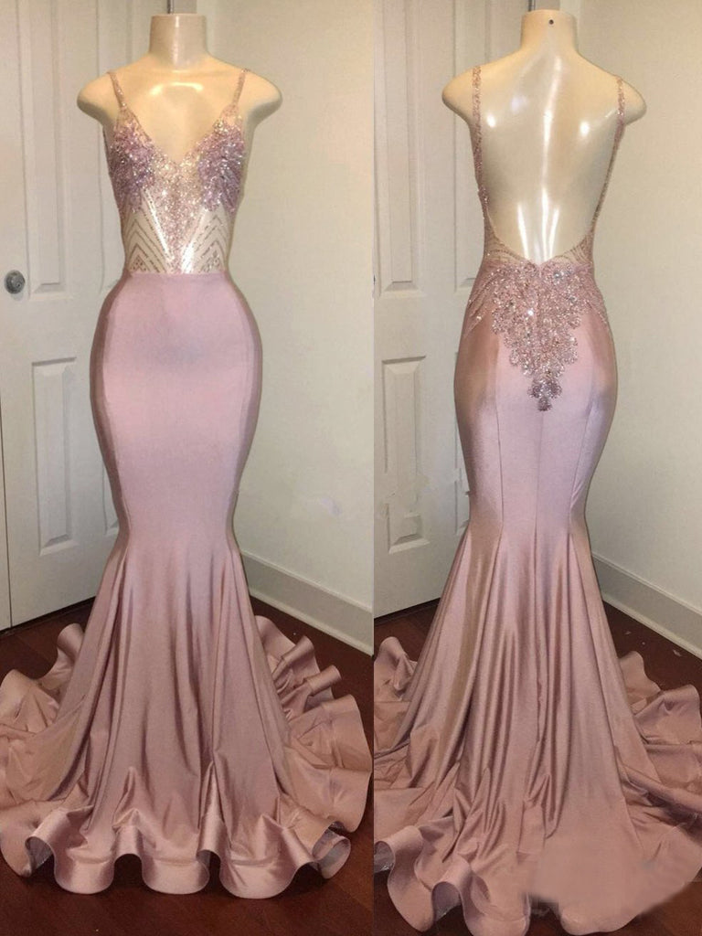 Mermaid Sexy Pink African Prom Dress Backless Long Unique Formal Dress Evening Gowns #AMY3223|Amyprom