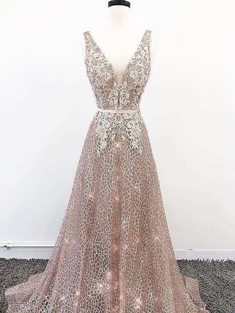 A-line V neck Champagne Lace Prom Dress Long Unique Formal Dress #AMY3229|Amyprom