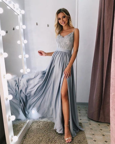 A-line Spaghetti Straps Gray Lace Prom Dress With Silt Long Unique Formal Dress #AMY3230|Amyprom