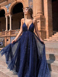 Dark Navy Spaghetti Straps Long Prom Dress Backless Sparkly Unique Formal Dress #AMY3231|Amyprom