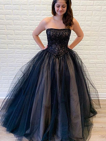 Black Strapless Lace Prom Dress Long Unique Formal Dress Evening Gowns #AMY3232