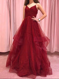 Burgundy Spaghetti Straps Long Prom Dress Sparkly Open Back Formal Dress Evening Gowns #AMY3233