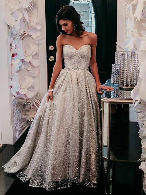 Sweetheart Silver Long Prom Dress Sparkly Cheap Formal Dress Evening Gowns #AMY3234