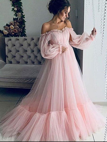 A-line Off-the-shoulder Pink Long Prom Dress Cheap Formal Dress Evening Gowns #AMY3235