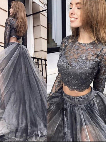 A-line Two Pieces Silver Long Prom Dress With Long Sleeve Lace Formal Dress Evening Gowns #AMY3237
