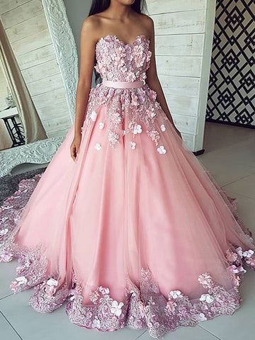 A-line Sweetheart Pink Long Prom Dress With Applique Lace Quinceanera Formal Dress  #AMY3238
