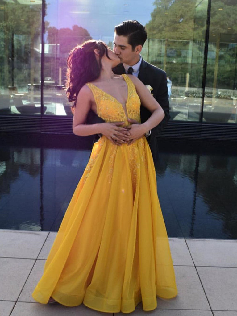 A-line V neck Yellow Long Prom Dress Cheap Formal Party Dress #AMY3239