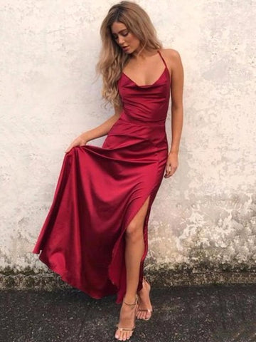 Burgundy Spaghetti Straps Long Prom Dress Silt Cheap Simple Formal Dress #AMY3240