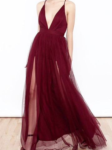 A-line Deep V neck Burgundy Long Prom Dress With Split Cheap Sexy Formal Dress #AMY3242