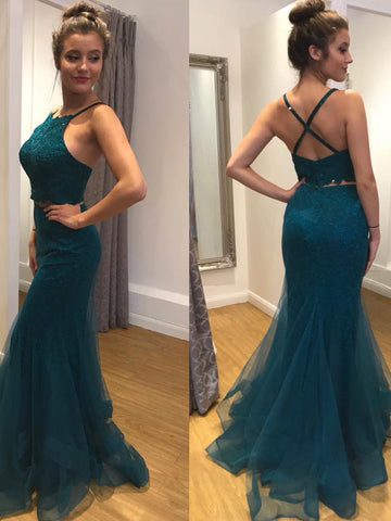 2018 Two Pieces Prom Dresses Mermaid Straples Long Prom Dress Evening Dresses AMY324