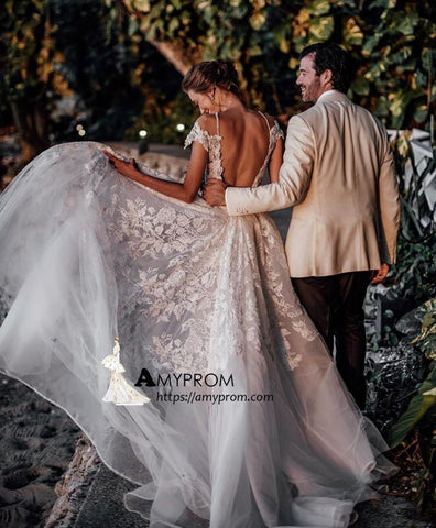 Rustic Backless Wedding Dresses Lace Applique Beach Wedding Dresses AMY3253