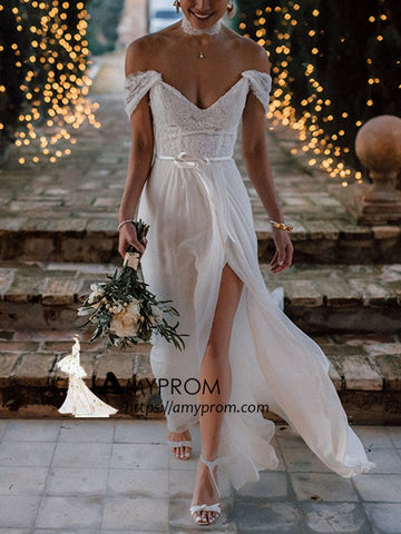 Chiffon Beach V neck Wedding Dresses With Silt Rustic Wedding Dresses AMY3255