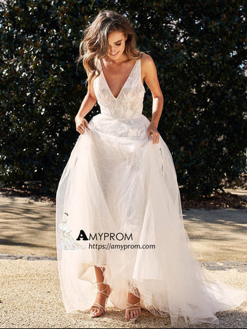 A-line V neck Lace Wedding Dresses Rustic Beach Wedding Dresses AMY3257