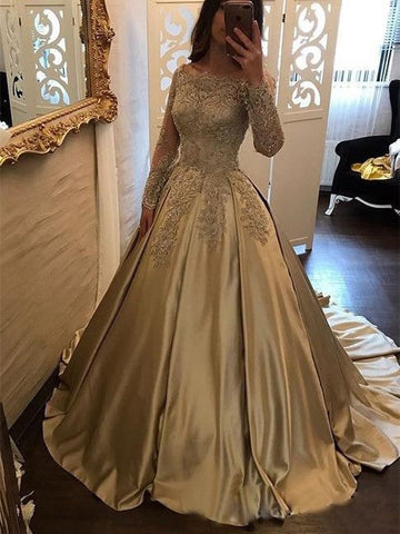A-line Off-the-shoulder Long Sleeve Gold Beautiful Dress Bridal Gowns AMY3264