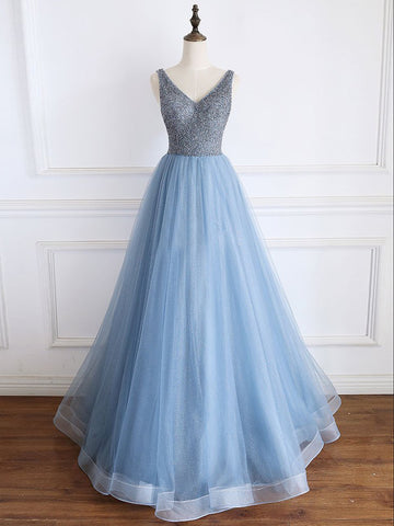 Chic A-line V neck Blue Long Prom Dress Beaded Formal Dress #AMY3268