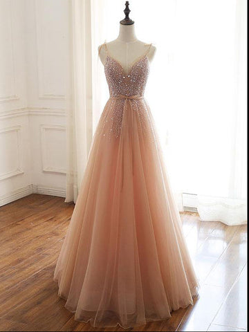 Chic A-line Spaghetti Straps Pink Long Prom Dress Beaded Party Dress #AMY3269