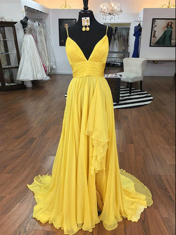 Spaghetti Straps Yellow Long Prom Dress With Silt Flowy Long Formal Dress #AMY3275