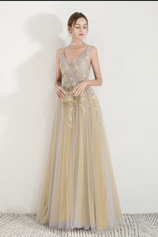 A-line Spaghetti Straps Gold Prom Dress Lace Long Evening Dresses #AMY3280