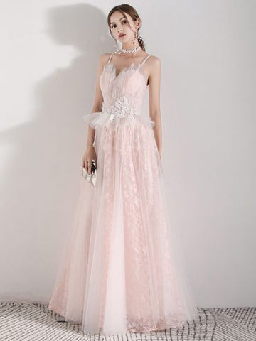 A-line Spaghetti Straps Pink Lace Long Prom Dress Cheap Formal Dress #AMY3281