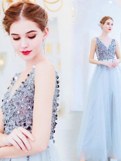 A-line V neck Silver Beaded Long Prom Dress Cheap Formal Dress #AMY3283