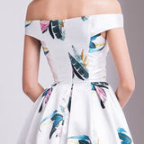 A-line Off-the-shoulder Print Long Prom Dress Cheap Formal Dress #AMY3288