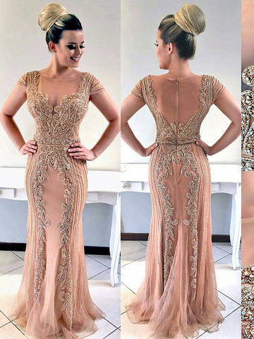 Trumpet/Mermaid Straps Pink Long Prom Dress Beaded Evening Dress #AMY3290