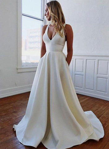 A-line V neck Cheap Long Prom Dress Bowknot Elegant Formal Dress #AMY3296