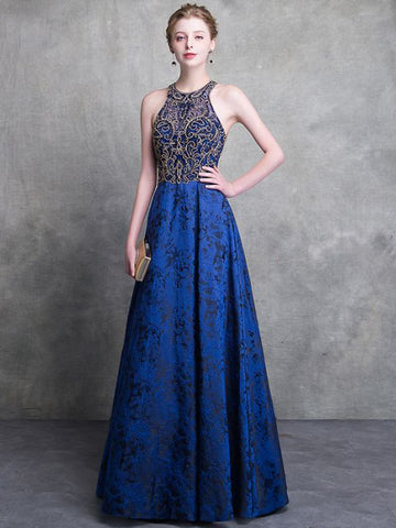 2018 Royal Blue Prom Dresses Long A-line Scoop Beading Prom Dress Evening Dresses AMY329