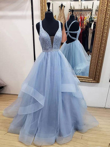 A-line Straps Blue  Lace Prom Dress Gatsby Long Evening Dresses #AMY3301