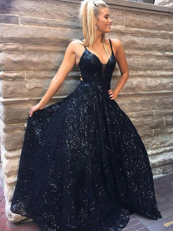 A-line Dark Navy Spaghetti Straps Lace Prom Dress Sparkly Long Evening Dresses #AMY3303