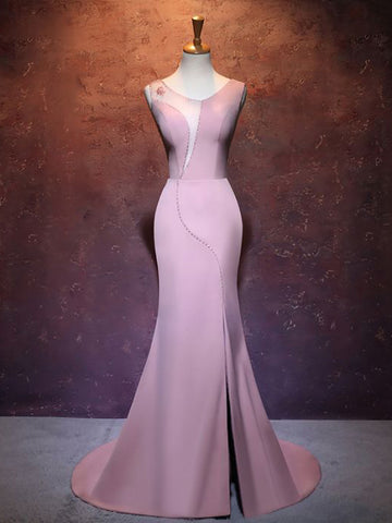 2018 Pink Prom Dresses Mermaid Long Scoop Simple Prom Dress Evening Dresses AMY330