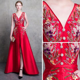 2018 Red Prom Dresses A-line Long V neck Satin Beading Prom Dress Evening Dresses AMY331
