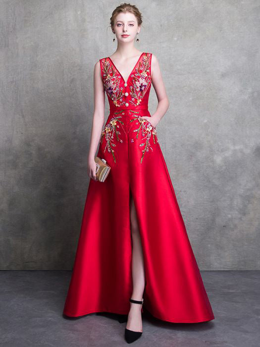2018 Red Prom Dresses A-line Long V neck Satin Beading Prom Dress Even – AmyProm