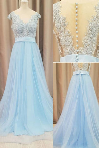 Light Sky Blue Prom Dress Lace Long Formal Prom Dress Evening Dress AMY3323