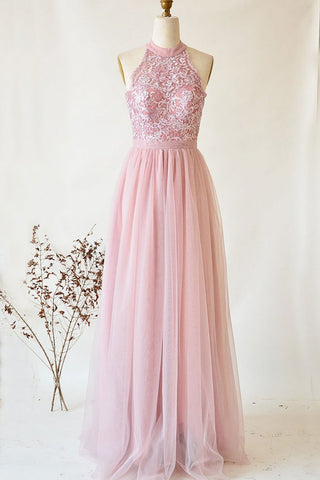 A-line Halter Blushing Pink Long Prom Dress Charming Formal Evening Dress AMY3325
