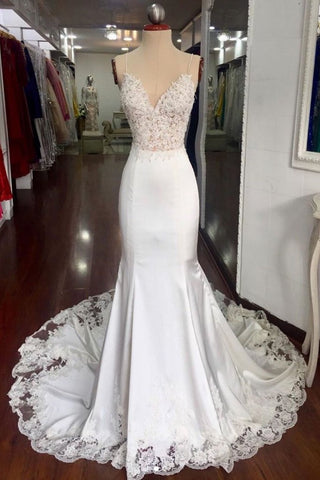 Trumpet/Mermaid Spaghetti Straps Long Prom Dress Ivory Lace Formal Evening Dress AMY3327
