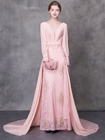 2018 Pink Prom Dresses Sheath/Column Bateau Chiffon Lace Prom Dress Evening Dresses AMY332