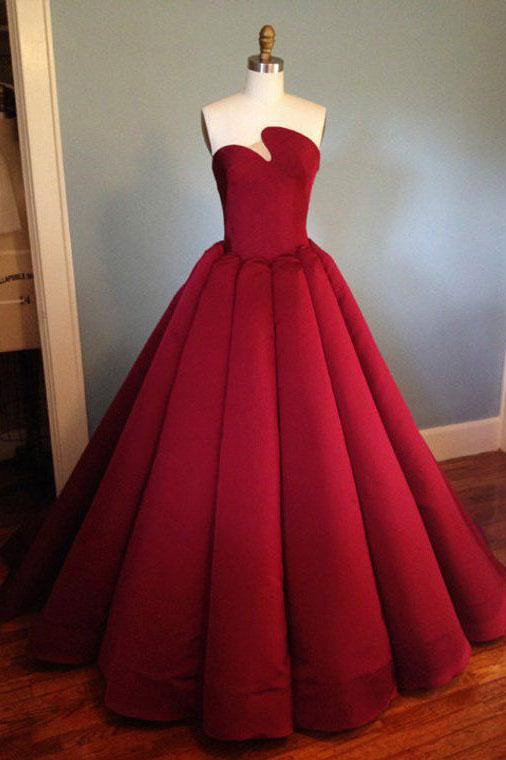 Strapless Burgundy Long Prom Dress Ball Gown Formal Evening Dress AMY3330