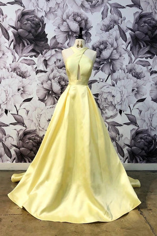 A-line Yellow Charming Long Prom Dress Cheap Simple Formal Evening Dress AMY3331