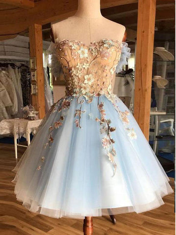 A-line Off-the-shoulder 3D Floral Short Prom Dresses Light Sky Blue Homecoming Dress AMY3336