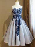 A-line Sweetheart Royal Blue Short Prom Dresses Vintage Homecoming Dress AMY3339
