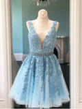 A-line V neck Short Prom Dresses Blue Applique Homecoming Dress AMY3340