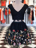 Two Pieces V neck Lace Prom Dresses Short Black Homecoming Dress With Floral AMY3341