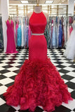 Mermaid Spaghetti Straps African Long Prom Dress Red Formal Evening Dress AMY3342