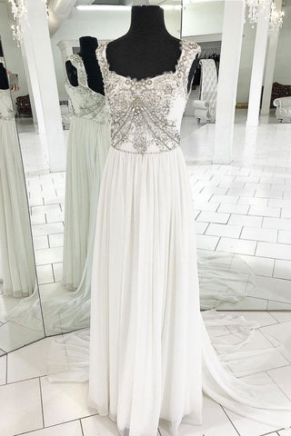 A-line Straps White Long Prom Dress Beaded Lace Formal Evening Dress AMY3343