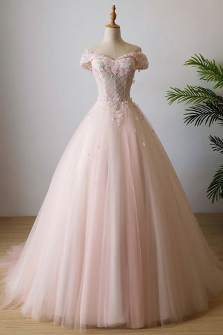Chic Pink Prom Dress A-line Off Shoulder Applique Long Prom Dress Evening Dress AMY3347