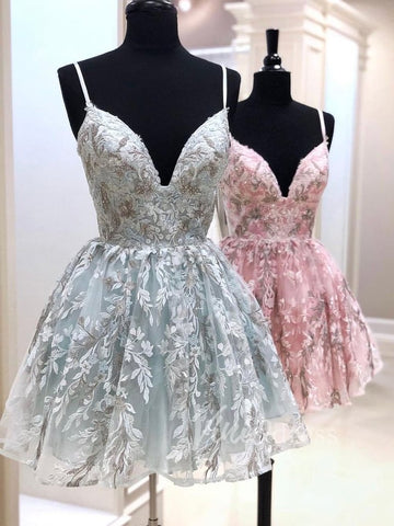 Chic Mint Green Spaghetti Straps Lace Homecoming Dresses Short Prom Dress AMY3354