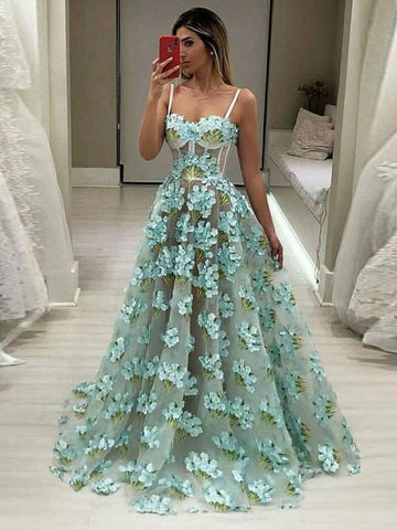 A-line Spaghetti Straps Long Prom Dress Applique Quinceanera Formal Evening Dress AMY3356